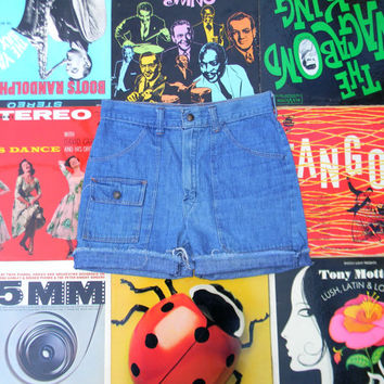 High Waisted Denim Shorts, AUTHENTIC Vintage 70s High Waist Jean Shorts - Upcycled, Distressed Medium Wash Denim Cargo Shorts, Size S 4 6
