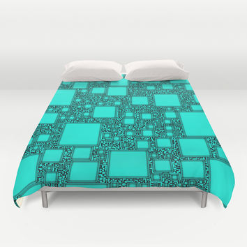 Electronics Blue Duvet Cover by Alice Gosling