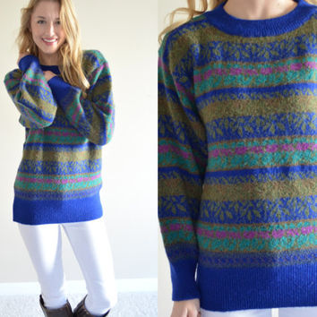 Vintage Compagnie Internationale Limited Express Sweater Beautiful Striped Royal Blue Patterned Womens Sweater Colorful Jumper Small Sm S