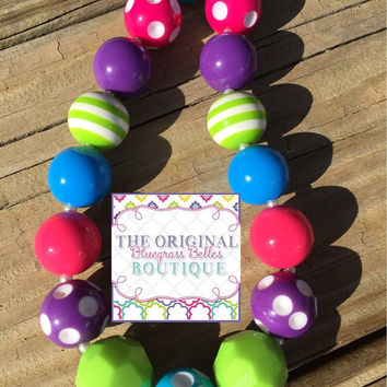 Summer Brights necklace | hot pink necklace | lime necklace | purple necklace
