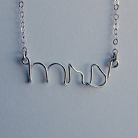 Wire Word Necklace - - mrs - - Sterling Silver - - mrs necklace
