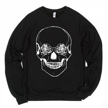 Flower Skull (dark)-Unisex Black Sweatshirt