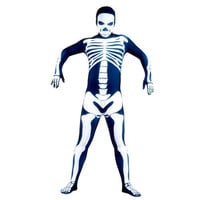 Full Body Royal Blue with White Skeleton Fancy Dress for Halloween Costume Lycra Spandex Back Zipper Zentai Suit [TWL1112220471] - £28.19 : Zentai, Sexy Lingerie, Zentai Suit, Chemise
