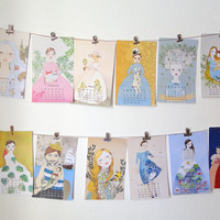 January Sale 2015 Calendar : Fairy Tale Girl collection, Whimsical wall calendar by Irena Sophia