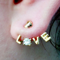 Love Earrings Wrap around 2 Charms and 2 Stems
