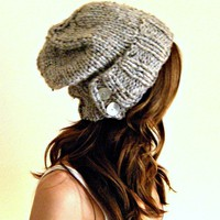 knit slouch hat in gray marble chunky knit winter hat by KittyDune