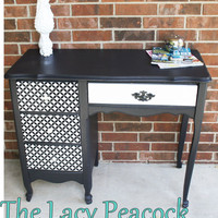 HOLD for LINDSEY French Provincial Desk / Vanity in Black and White