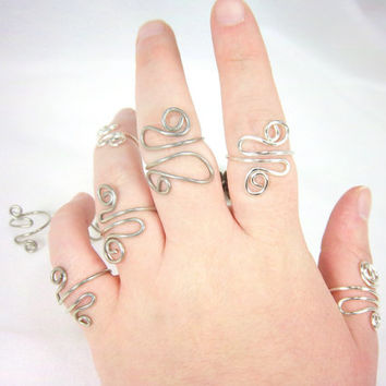 Silver Spiral Ring Silver Wire Ring Snaked Spiral Ring Silver Ring Knuckle Ring Sterling Silver or Silver Color Wire Fantasy Hippie Jewelry