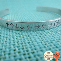 Konami - Cheat Code - Personalized Hand Stamped Jewelry  - Hand Stamped Cuff Bracelet - gift for gamer