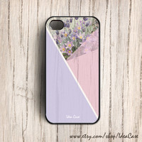 Wood Print Geometric Triangle Unique iPhone Case , Floral Lavender iphone case , iPhone 4 Case , Plastic iPhone 4s Cover by IdeaCase