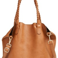 Junior Women's Street Level Slouchy Faux Leather Tote with Pouch - Brown