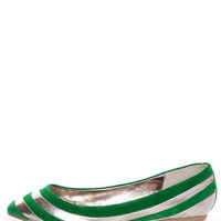 Dollhouse Amuse Green and Silver Striped Pointed Flats - $29.00