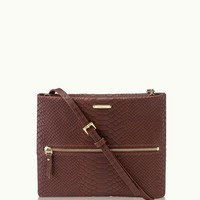 GiGi New York Crossbody Bag Cognac Embossed Python Leather