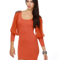 Poetic License Burnt Orange Dress