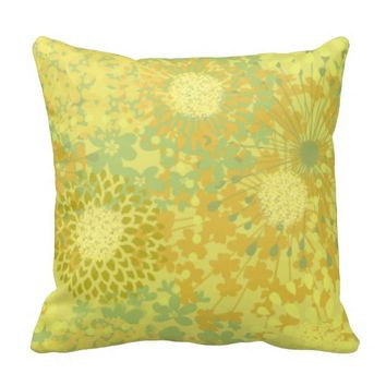 Floral Circles Girly Pattern Throw Pillow
