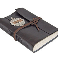 Faux Leather Journal with Bookmark and Custom Initials - Choice of 6 colors and 2 paper options