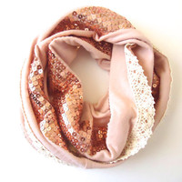 Blush Fashion Scarf. Infinity Scarf. Fall Accessories.  Up cycled. EcoFriendly. Chic Fashion Scarf. Sequins and Cotton lace. One of a Kind.