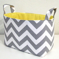 Chevron Gray White Slub Zig Zag Yellow Accent by TREASUREDTOTES08