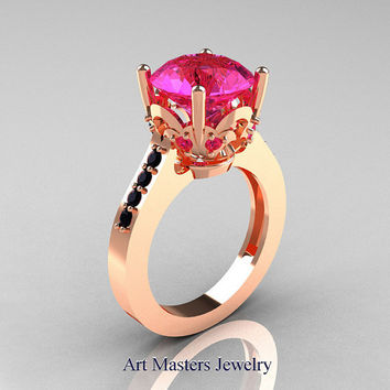 Classic Blazer 14K Rose Gold 3.0 Carat Pink Sapphire Black Diamond Solitaire Wedding Ring R301-14KRGBDPS