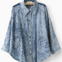 Nine Blue Points Sleeve Denin Cape Coat $43.00