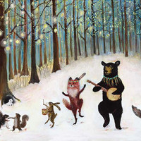 Greeting cards, Christmas cards, Forest animals, woodland winter, woodland animals- Pack of 12 cards- 4.5x6