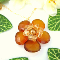 Mustard yellow chalcedony cherry blossom citrine gold necklace