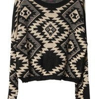 Geometric pattern round neck Bat-sleeved sweater - Sheinside.com
