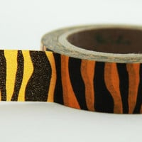 Orange & Black Tiger Print Washi Masking Tape Roll 11yards Adhesive Stickers WT130