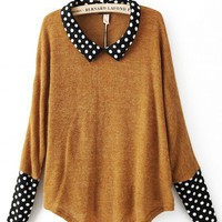 Doll Collar Yellow acrylic polka dot long sleeve pullover   style zz10081004 in