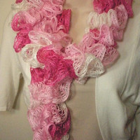 Pink Lacy Frilly Ruffled  Neckwarmer Fashion Scarf