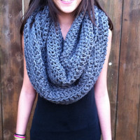 Gray Chunky Infinity Scarf