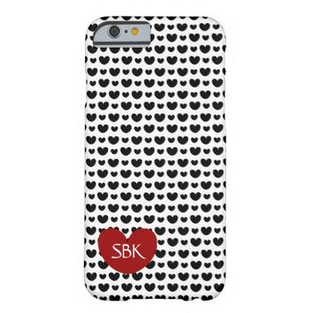 Cute Black Hearts on White, Monogram on Red Heart