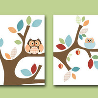 "Art for Children , Kids Wall Art, Baby Boy Room Decor,Nursery print,set of 2 8"" x 10"" Print,bird,tree,owl,blue,green,red,collage"
