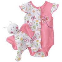 Vitamins Baby-girls Newborn Butterfly Blankie Buddy 2 Piece Creeper Set With Blanket Buddy $22.00