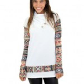 White Top With Aztec Sleeves