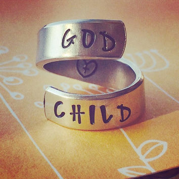 God child  aluminum ring swirl style  1/4 inch