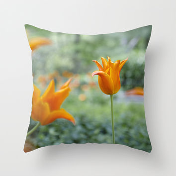 Tulips in orange Throw Pillow by VanessaGF