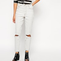 ASOS Farleigh High Waist Slim Mom Jeans in Smudge Grey With Busted Knees at asos.com