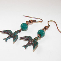 Rustic Enamel Sparrow Earring copper