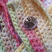 Citrus Stripes Braided Neckwarmer Scarf with Filigree Button Closure
