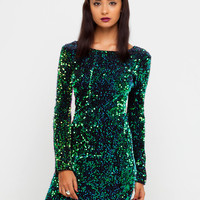 Motel Gabby Sequin Plunge Back Dress in Iridescent Green