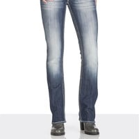 Vigoss Lace And Sequin Pocket Slim Boot Jeans - Medium Sandblast