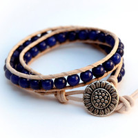 Blue beaded leather bracelet. Double wrap stack bracelet. Lapis lazuli jewelry.