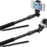 The Alaska Life® Extendable Selfie Stick for use with GoPro, Smartphones, and Digital Cameras! (RUGGED and VERSATILE)