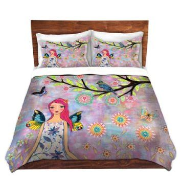 Duvet Cover Brushed Twill Twin, Queen, King from DiaNoche Designs by Sascalia Home Decor and Bedding Ideas - Butterfly Fairy