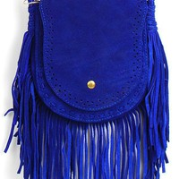 4072 Blue Fringe Cross Body Pouch and shop Handbags at MakeMeChic.com