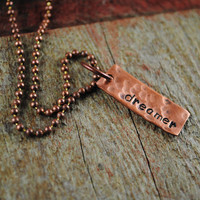 Dreamer Inspiration Pendant in Copper on Ball Chain