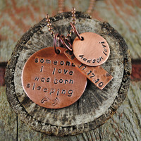 Stillbirth Tribute Pendant in Copper with Name and Date Charms on a Ball Chain Necklace