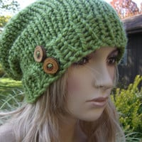 Pea Green Light Lime Boho Slouchy Hand Knit Oversized Ribbed Woodsy Beanie Hat With Wood Buttons