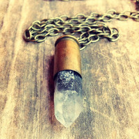 Bullet Necklace Long Necklace Crystal Bullet Necklace